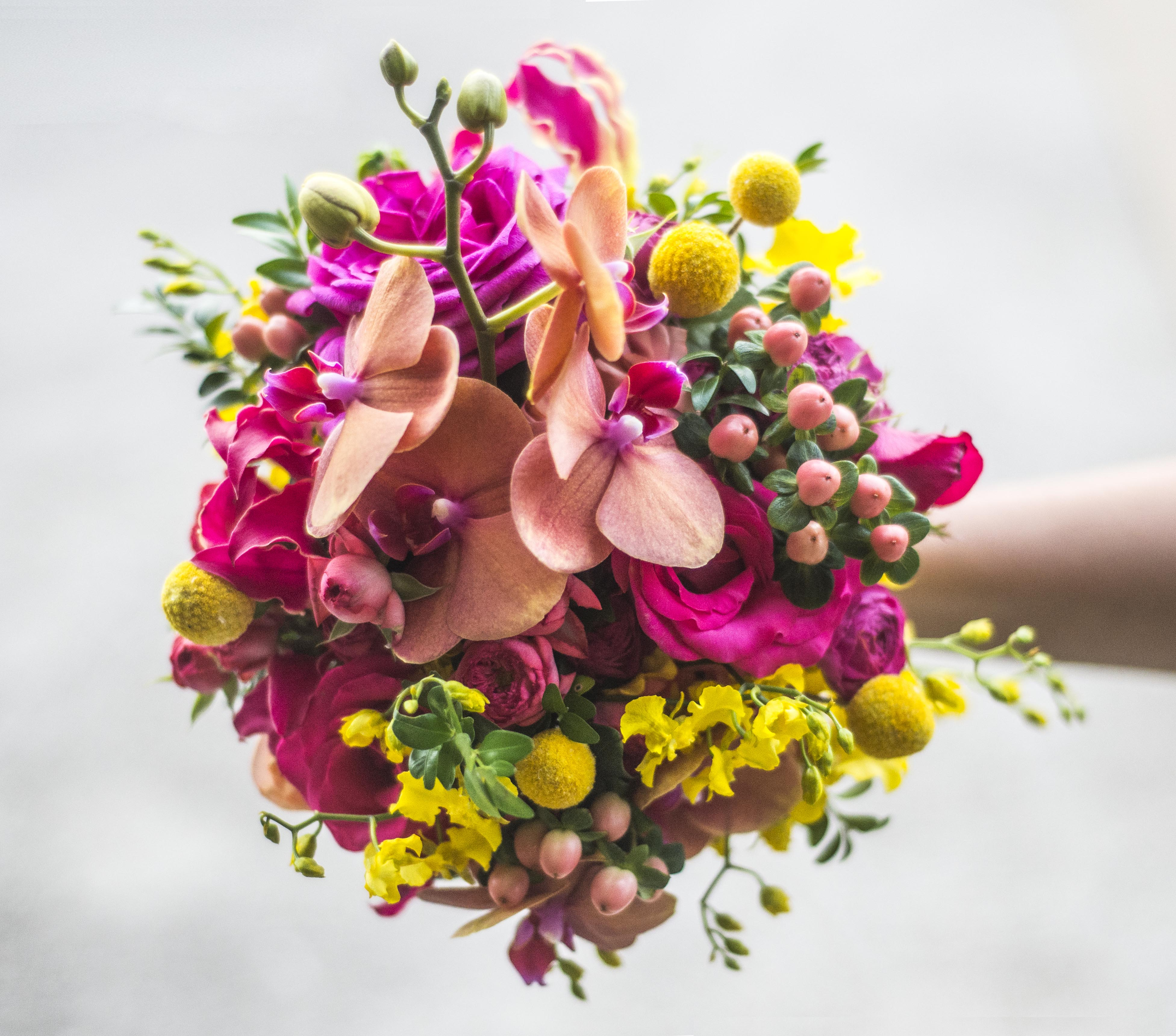 Jewel coloured brides bouquet