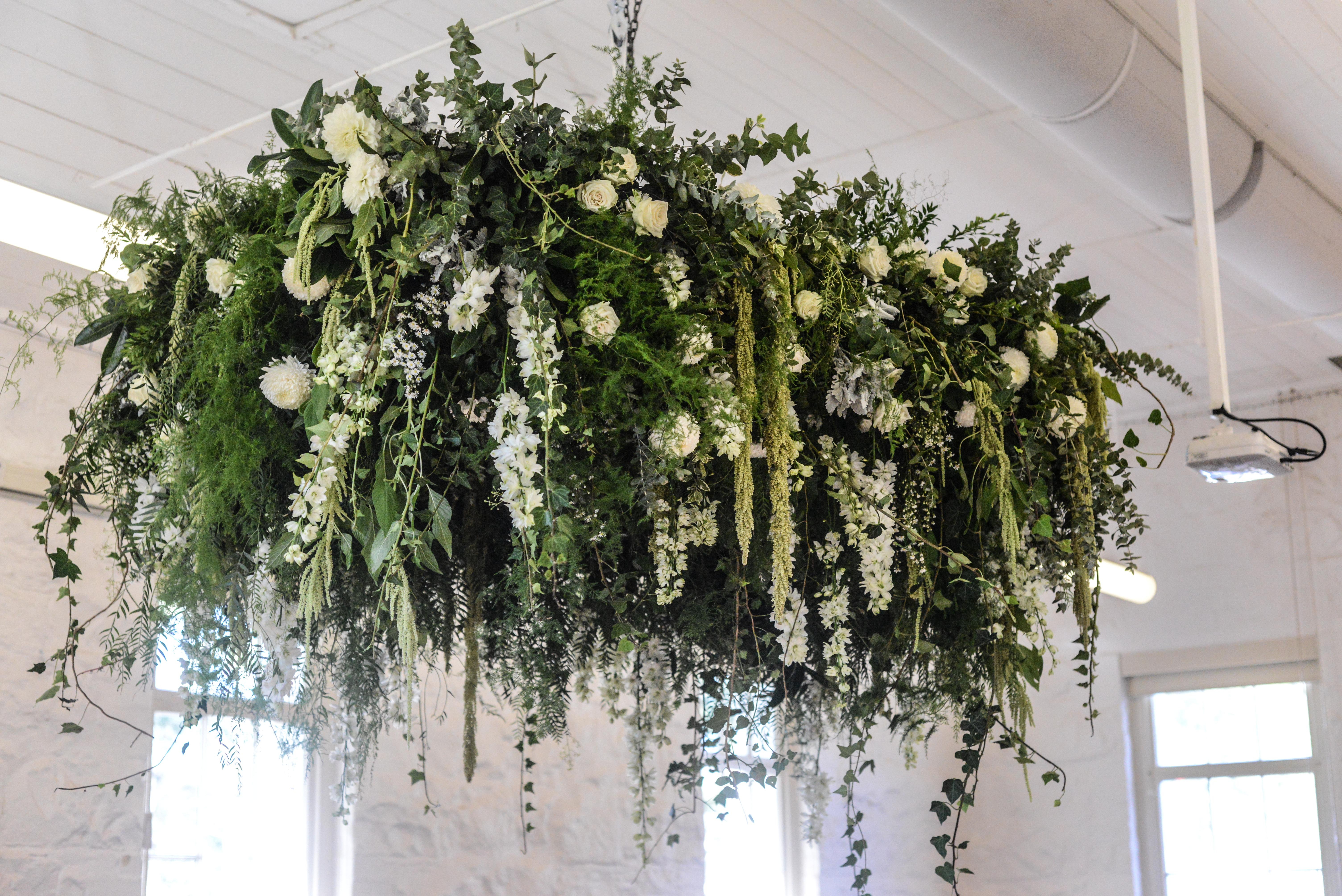 Hanging flowers in creams & white