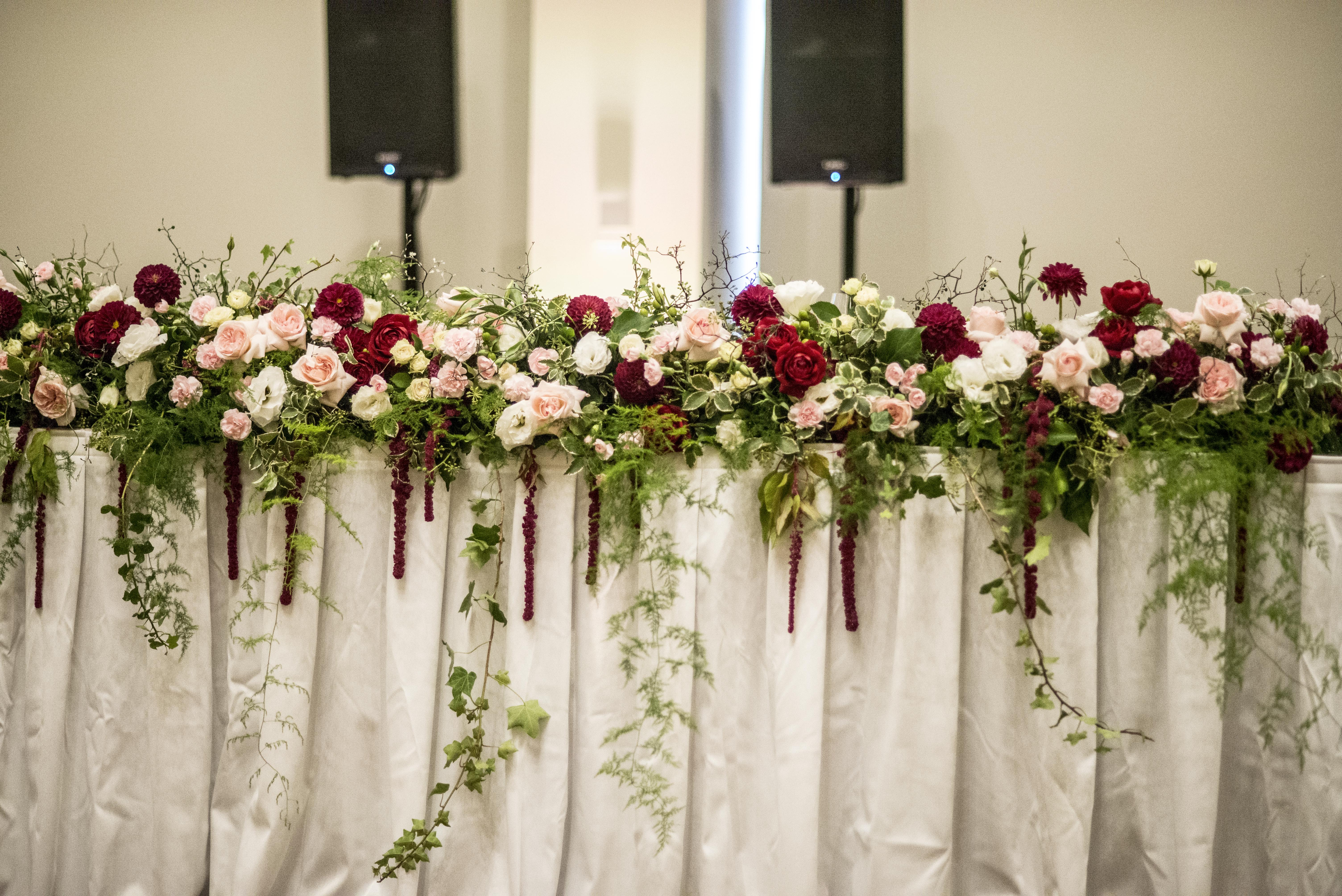 Floral garland for the bridal table