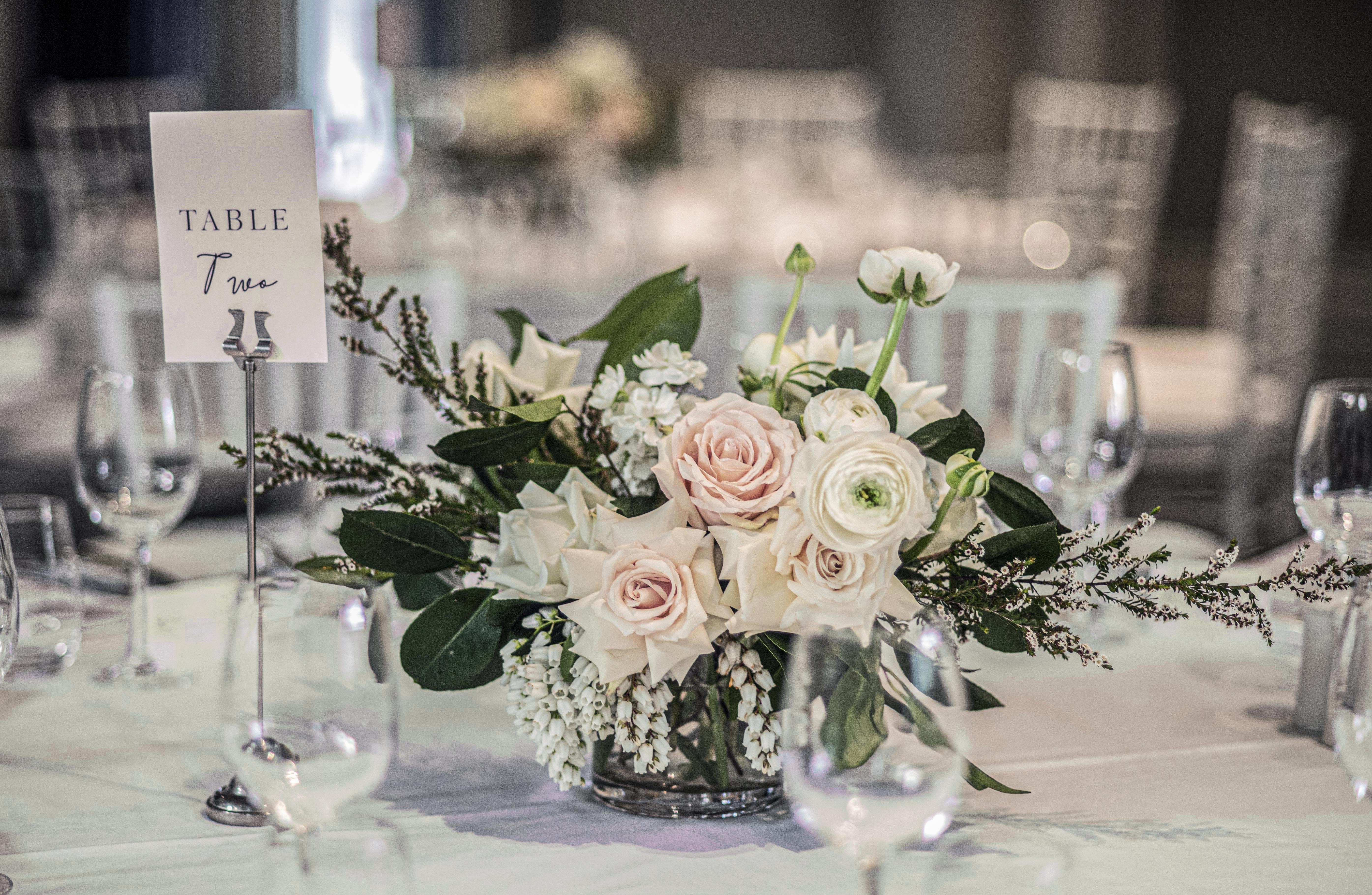 Blush & cream guest table flowers