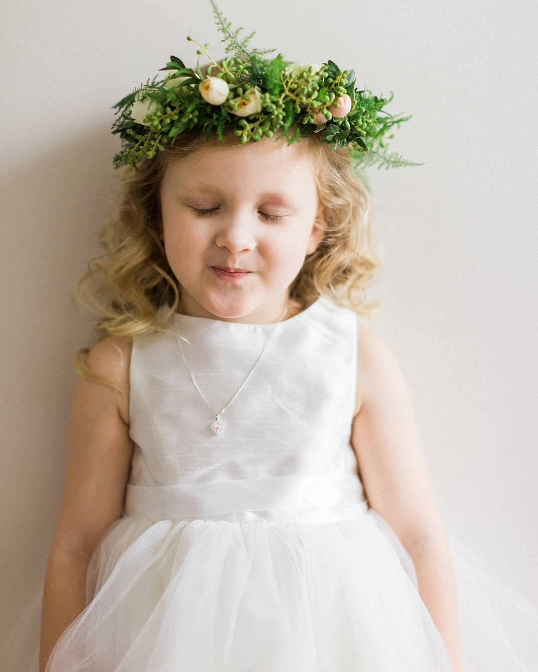Leafy green flower girl crown
