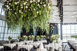 Hanging foliage & flower chandelier