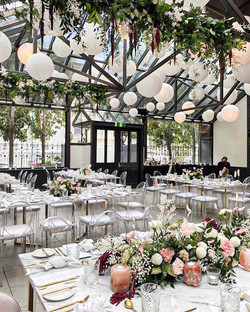 Abundant wedding reception flowers