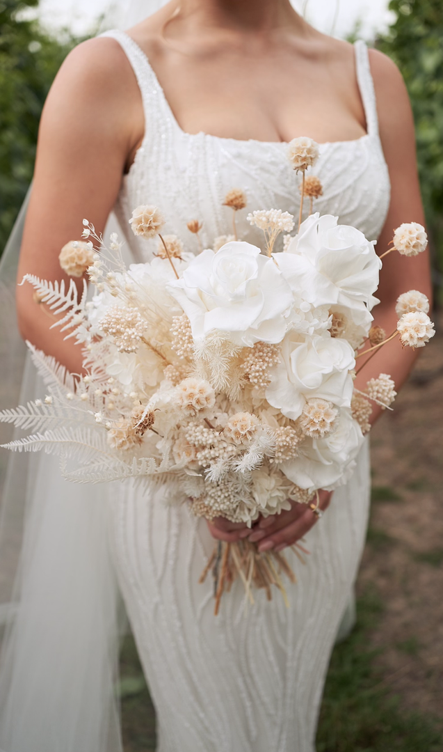 Brides bouquet of dried flowers