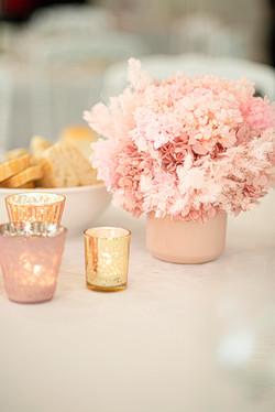 Preserved hydrangea pink centrepiece