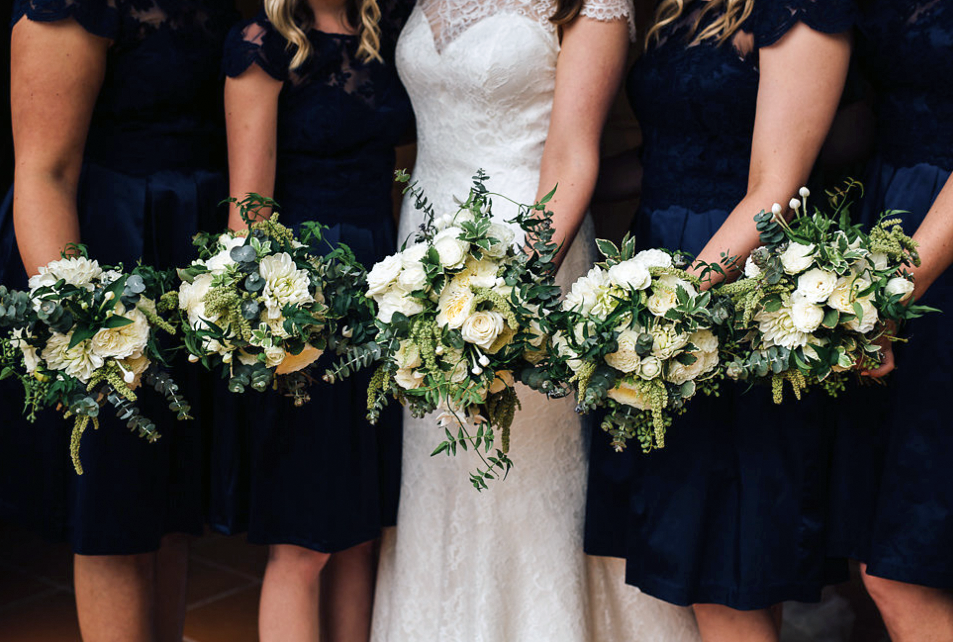 Wild white unstructured bouquets