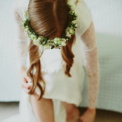 Small white and green flower crown