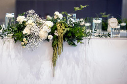 Green & cream bridal table flowers