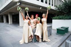 Green & cream domed bridesmaid bouquets