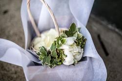 Flower girl basket of petals