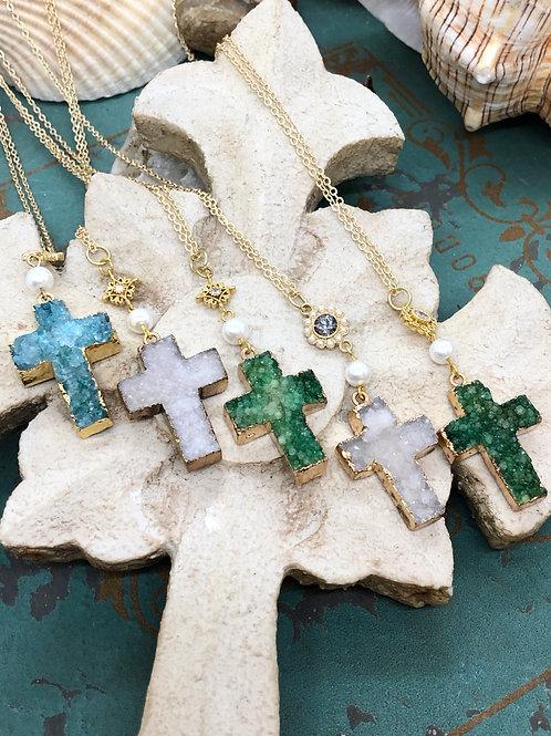 Turquoise Druzy cross Necklace