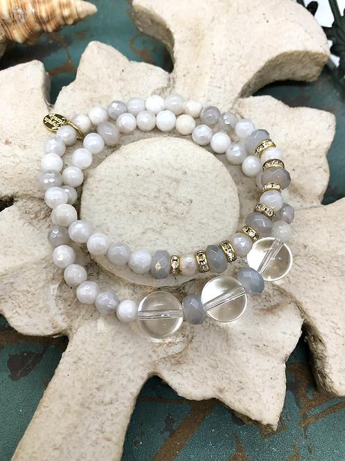 Crystal Quartz and Agate bracelet set