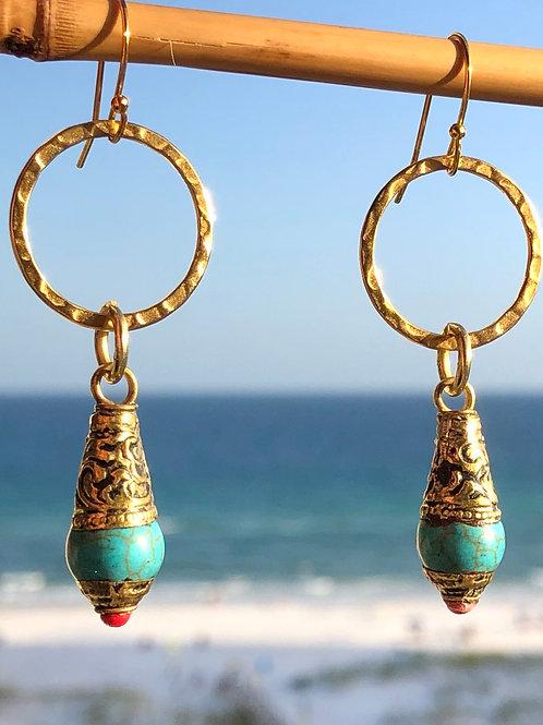 Turquoise Tibetan Dangles