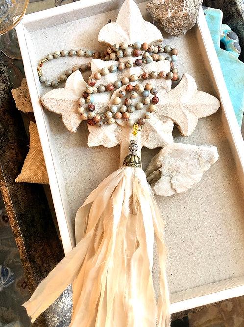 Sari Silk tassel & Jasper necklace