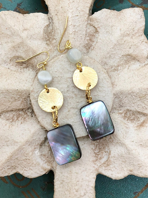 Abalone and Gold Dangles