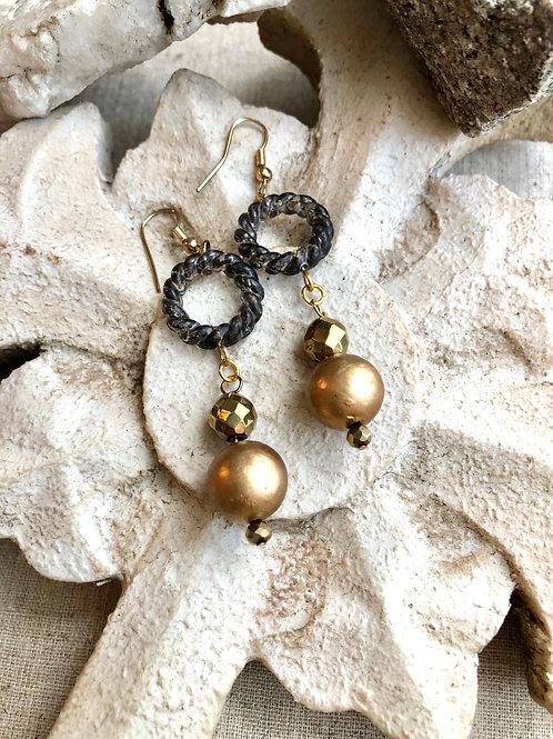Gold Hemitite dangle earrings
