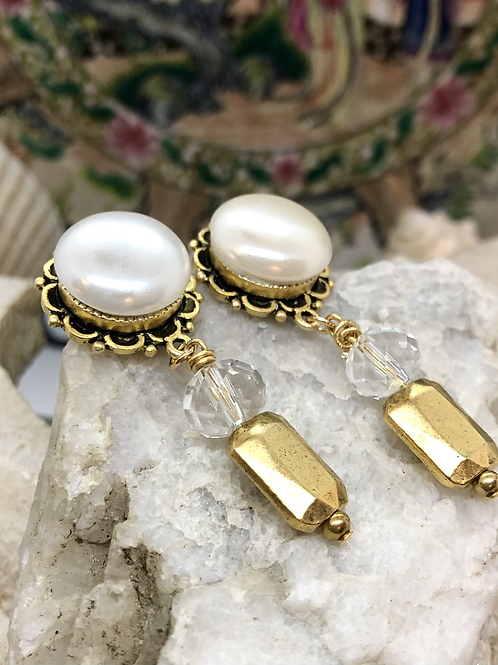 Pearl and Gold stud dangles