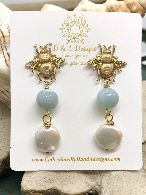Blues and Bees earrings