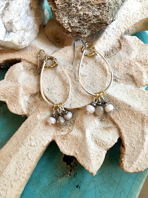 Fancy agate silver tear drops