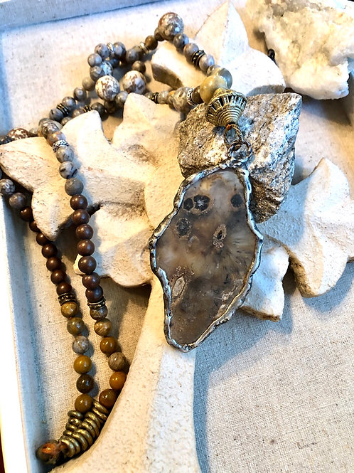 Moss Agate Birdie Necklace