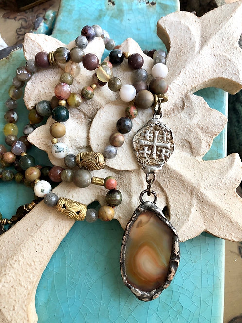 Agate & Cross necklace