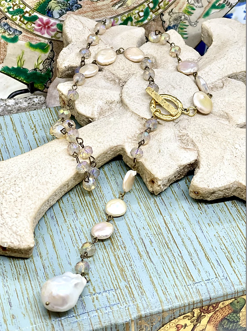 Crystals and Pearls Toggled Lariat