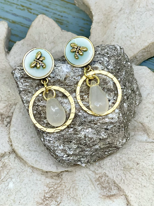 Bonton Farms Line:  Dragonfly white dangles earrings