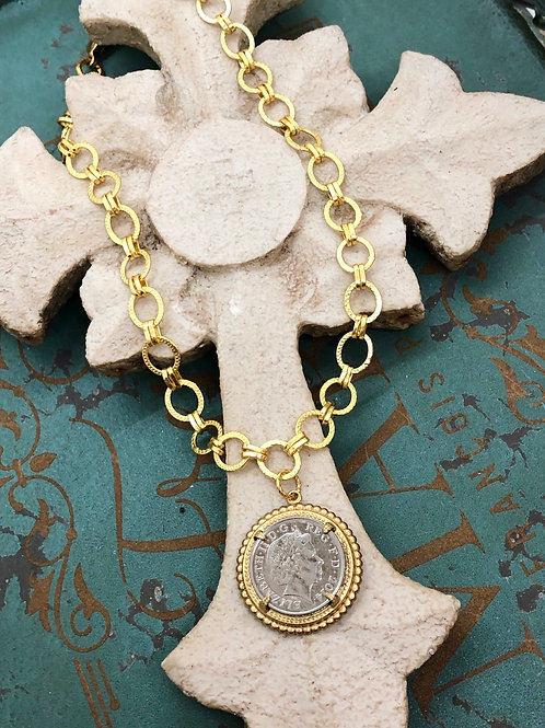 Gold Link British Coin necklace