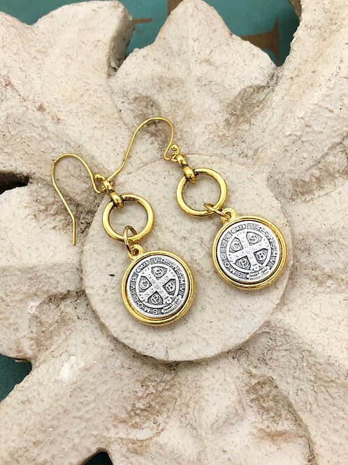 Two Toned St. Benedict earrings