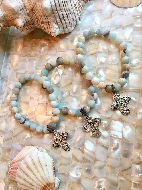 Silver Cross & Amazonite bracelet