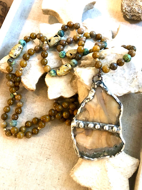 Soldered Banded Agate & African Turquoise Necklace