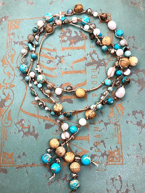 Crosses and Gemstones Lariat necklace