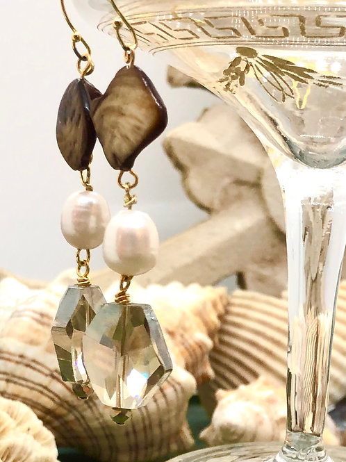 Crystals Galore Mother of Pearl and Crystal earrings