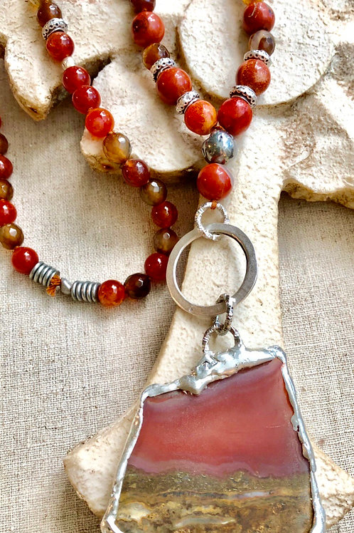 Carnelian Red Soldered Necklace