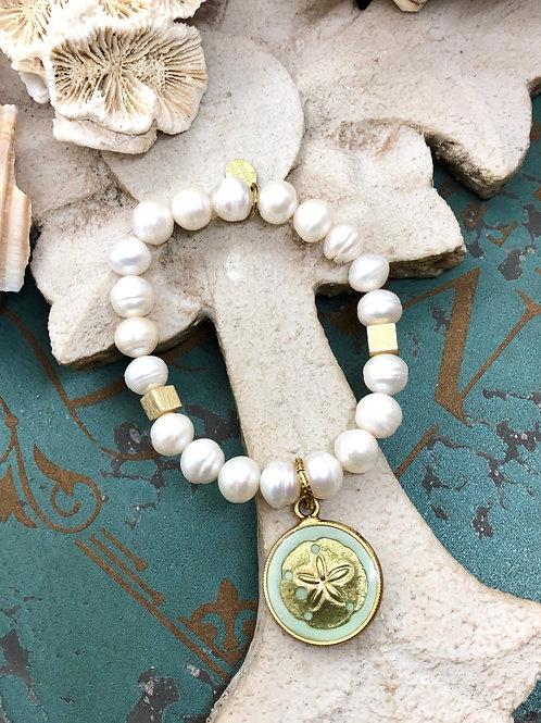 Sand Dollar and pearls bracelet