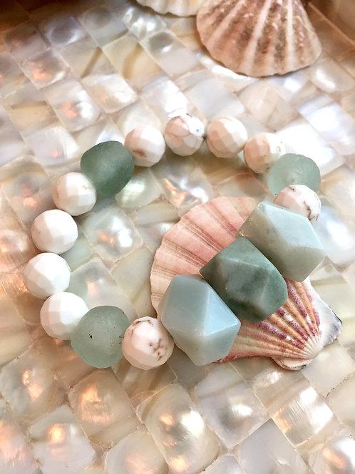Amazonite & White Turquoise Bracelet