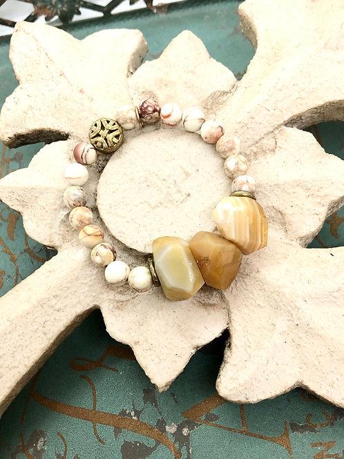 Marbleized Agate & Nuggets  bracelet