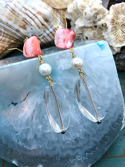 Crystals Galore Salmon Mother of Pearl earrings