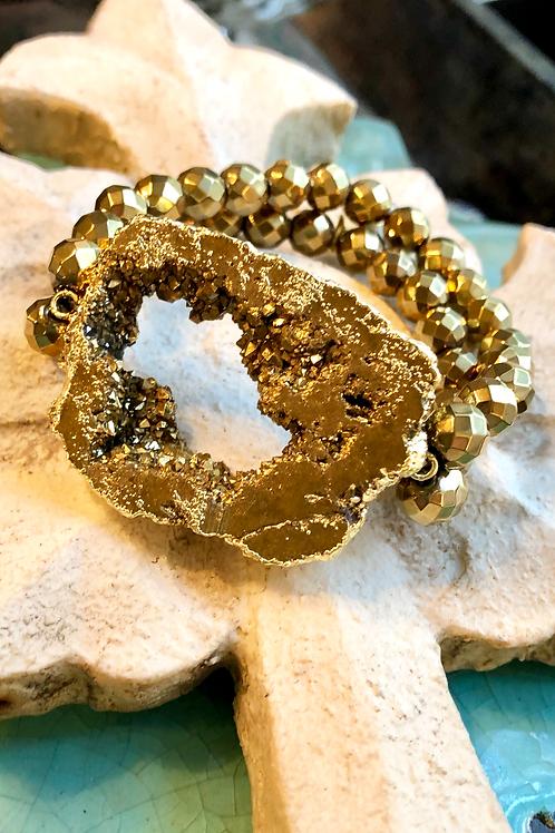 Gold Druzy & Hematite bracelet