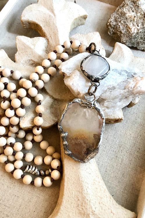 Agate & Quartz Neutral Necklace