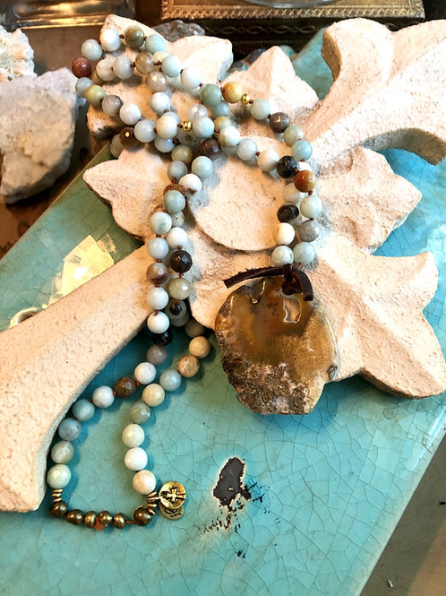Amazonite and Agate pendant necklace