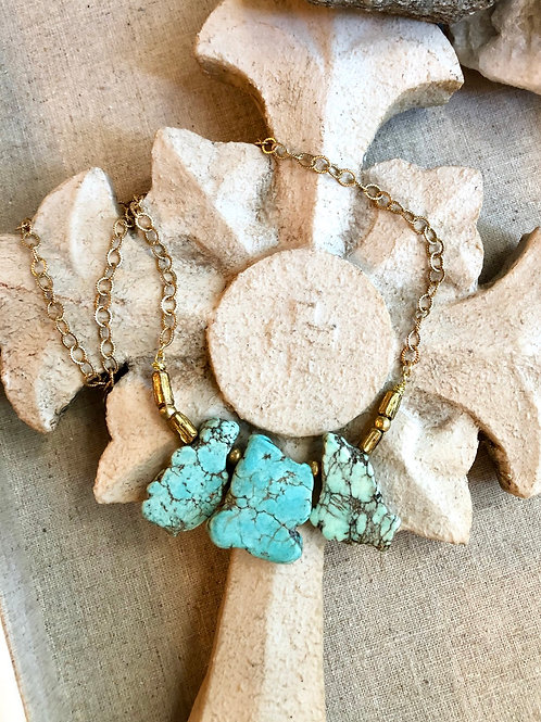 The Sofia Collection: Turquoise Magnesite & African Brass Necklace