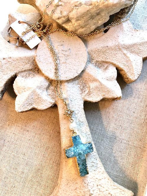 Blue Druzy Cross Necklace