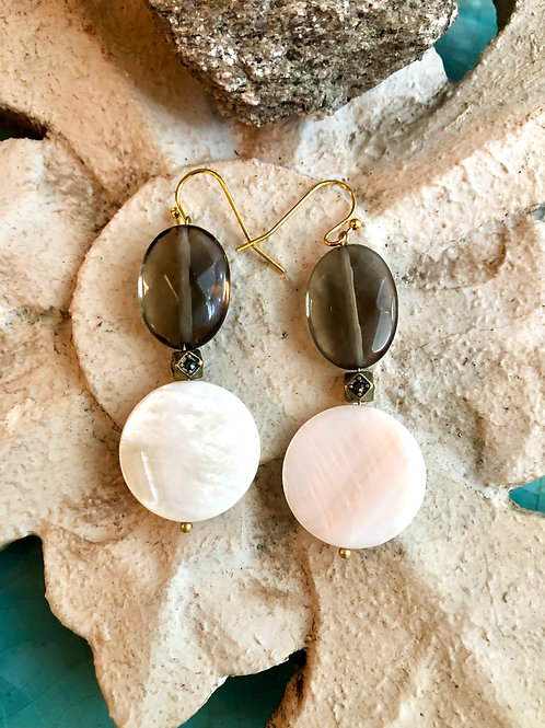 Smoky Topaz & Shell earrings