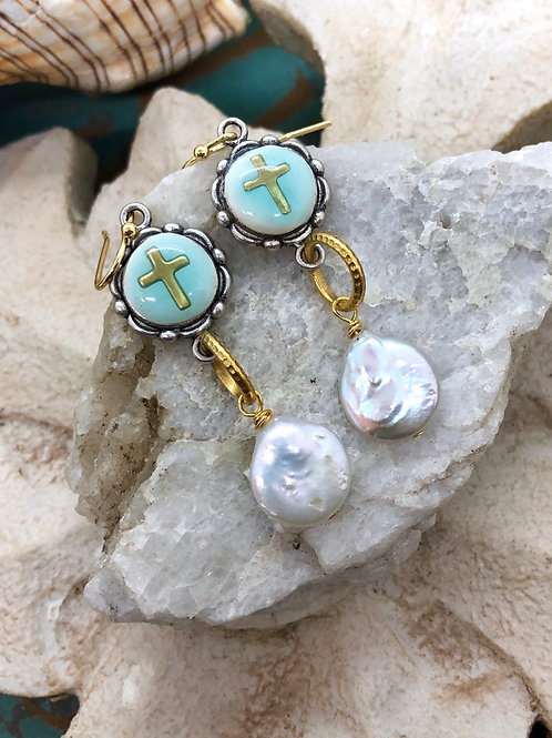 Turquoise cross and pearl earring
