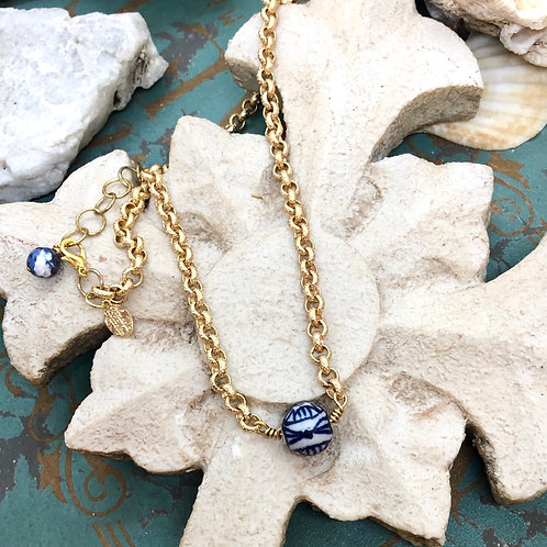 Chinoiserie Blue & White necklace