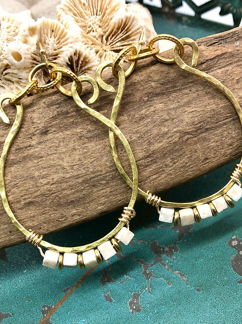 Hammered Gold Hoops & Agate
