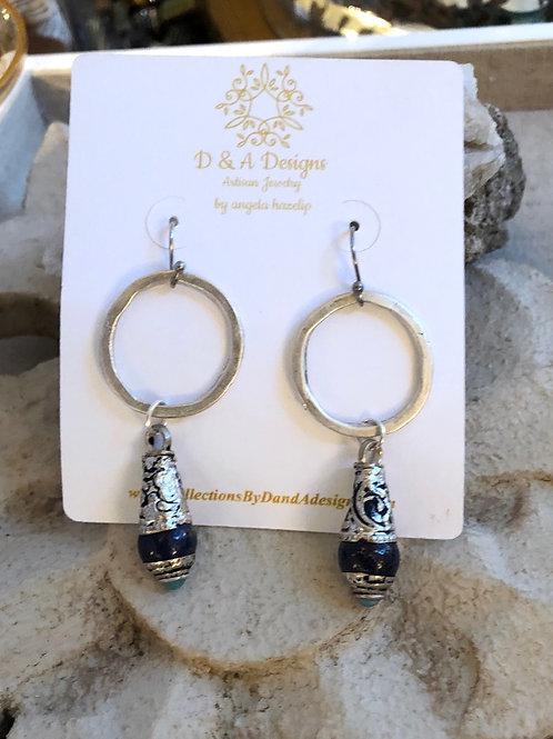 Tibetan Lapis and Silver earrings