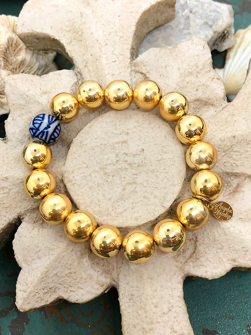Chinoiserie Blue and Gold Bracelet