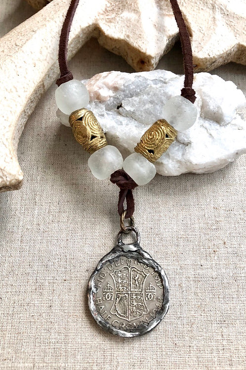Soldered Coin and Leather necklace
